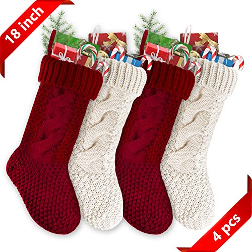 Christmas Stockings Christmas 4 Pack 18 inches Large Size Cable Knit Stocking Christmas stockings, White Christmas Stockings & Red Christmas Stockings Decorations for Family Holiday Season Decor