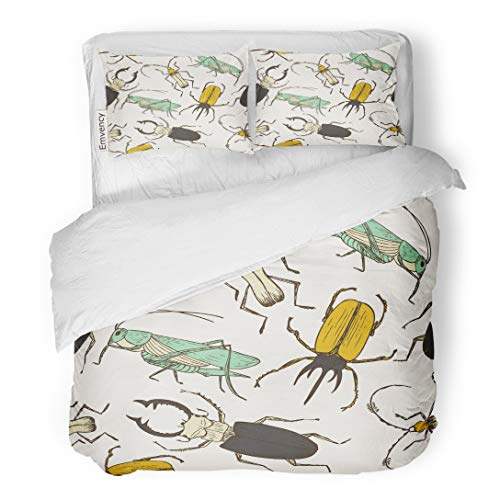 - Tarolo Bedding Duvet Cover Set Brown Cartoon Bug Pattern Funny Grasshopper Stag Beetle Childish and Wall Colorful Insect 3 Piece Queen 90