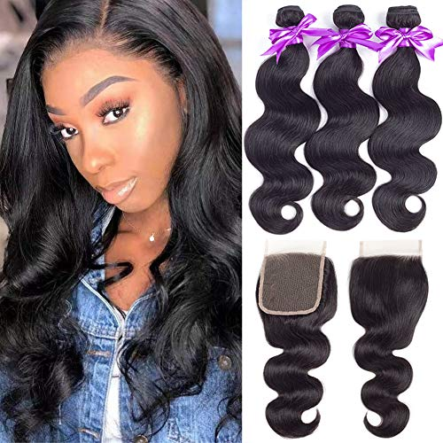 Brazilian Body Wave Bundles with Closure (12 14 16+12,Free Part) Brazilian Body Wave Virgin Hair 3 Bundles with Closure 8A 100% Unprocessed Human Hair Bundles with Lace Closure (Best Sew In Weave Techniques)