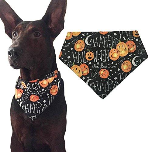 Halloween Dog Bandana Triangle Bibs Scarf Accessories for Cats Pets Animals - Pumpkin Pattern