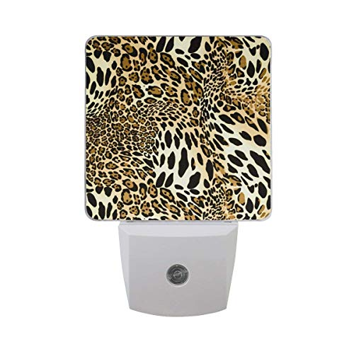 Premium Led Night Lights, 2PC Auto Sensor Dusk to Dawn Plug in Night Lights for Nursery Bathroom Bedroom Hallways Kitchen Stairs for Kids Baby Girls Boys Adults - Animal Tiger Leopard Print Stripe