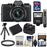 Fujifilm X-T100 Digital Camera & 15-45mm XC OIS PZ Lens (Black) 32GB Card + Battery + Tripod + Flash + Case + Kit
