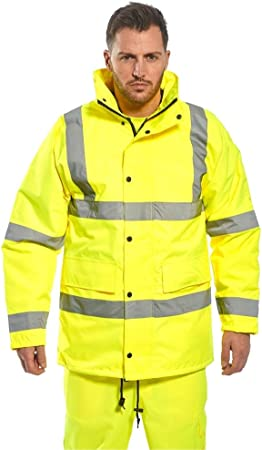 Yellow//Black,Small Brite Safety Hi Vis Classic Contrast Rain Jacket High Visibility Rain Gear for Men and Women Waterproof Hooded Jackets for Men and Women