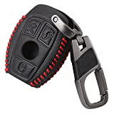 Smart 3button Leather Key Cover Bag Fob Shell Car Key Cases Fit For Mercedes Benz W203 W205 W210 W211 W212 W124 Accessories Red