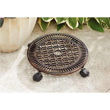 Iron Caddy Cast Plant (Better Homes and Gardens 14 in. Outdoor Lattice Cast Iron Plant Caddy Oil Rubbed Bronze)