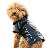 Image of Pet Winter Watherproof Windproof Pu Leather Motorcycle Jacket Clothes Costume for Dog Cat Black XS
