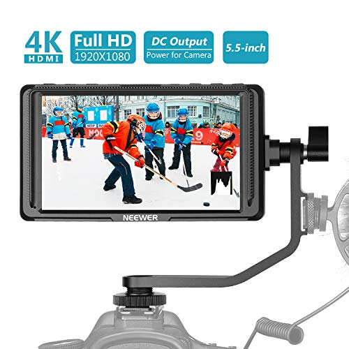 Neewer FW568 5.5-Inch Camera Field Monitor Full HD 1920×1080 IPS with 4K HDMI DC Input Output Video Peaking Focus Assist with Swivel Arm for Sony Nikon Canon DSLRs and Gimbals (Battery Not Included)