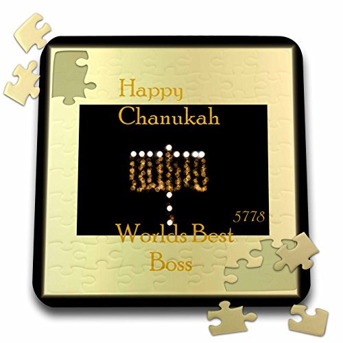 Chanukah for Special People - Image of Happy Chanukah Worlds Best Boss Menorah Bokeh - 10x10 Inch Puzzle (pzl_262585_2) (Menorah World)