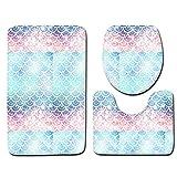 SuperUS 3pcs Non-Slip Fish Scale Bath Mat Bathroom Kitchen Carpet Doormats Decor