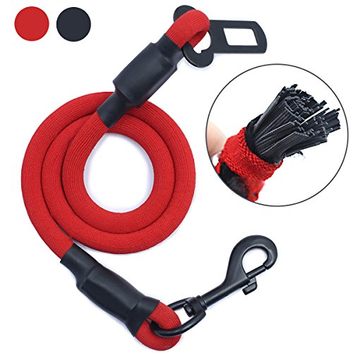 AMZNOVA Explosion-Proof Rushed Dog Seat Belt Car Harness Restraint Pet Safety Latch Seatbelt Durable for Cat Puppy Small Large Dogs Travel Carring, Red, L