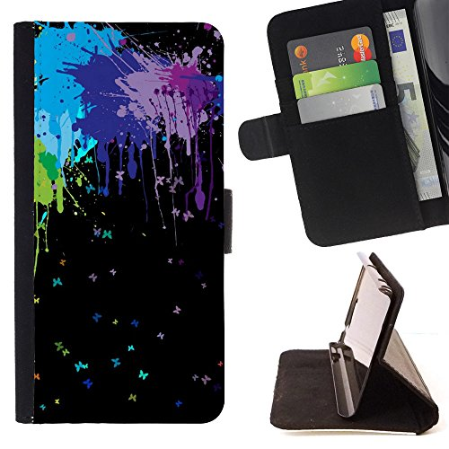 God Garden - FOR Apple Iphone 5 / 5S - Colors Art - Glitter Teal Purple Sparkling Watercolor Personalized Design Custom Style PU Leather Case Wallet Fli