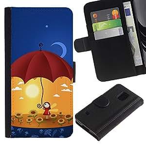 Paccase / Billetera de Cuero Caso del tirón Titular de la tarjeta Carcasa Funda para - Umbrella Sun Flowers Yellow Moon Art - Samsung Galaxy S5 V SM-G900