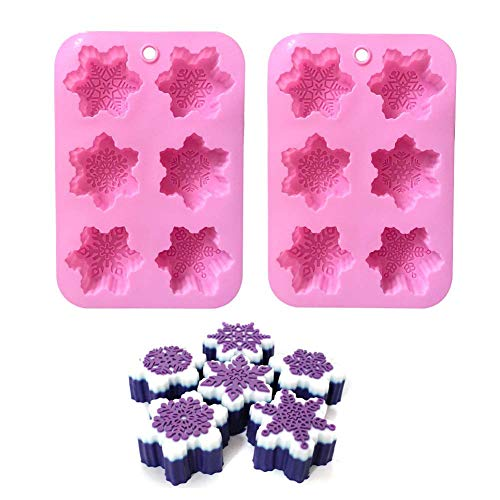 ESA Supplies Snowflake Molds Silicone Soap Making Molds Candle Molds Christmas Baking Pans Cake Chocolate Candy Molds 2 Pack]()
