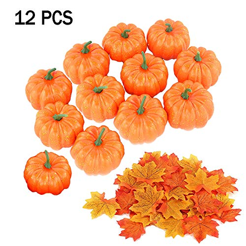 Cute Pumpkins For Halloween (Szsrcywd 12 Pack Artificial Mini Fake Pumpkins with 30PCS Maple Leaves for Halloween Decoration,Small Cute Realistic Pumpkin Fall Harvest Thanksgiving Party)
