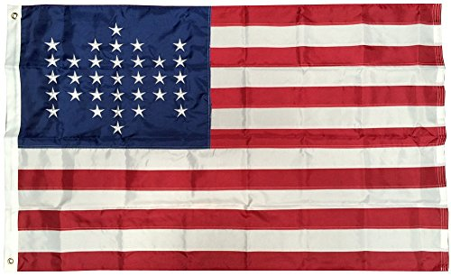 3x5 Fort Ft Sumter 33 Stars Embroidered Sewn Solarmax Nylon Flag 3'x5' Banner with clips