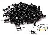 black cork board - Tupalizy 200PCS Colored Plastic Push Pins Decorative Map Thumb Tacks with Steel for Bulletin Board and DIY Craft Home Office Use (Black)