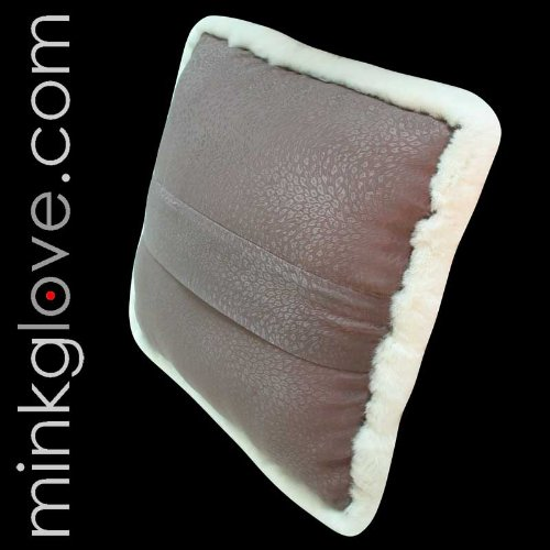 MinkgLove White Rex Rabbit Pillow Cushion Cover 16'' (41cm) - Single Sided Fur