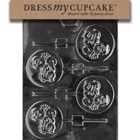 Dress My Cupcake DMCH070 Chocolate Candy Mold, Peeking Boo Ghost Lollipop, -