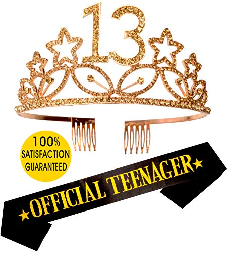 13th Birthday Tiara and Sash| HAPPY 13th Birthday Party Supplies| Official Teenager Satin Sash and Crystal Tiara Birthday Crown for 13th Birthday| 13th Birthday Decoration Party Supplies (Gold)