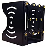 Goodxin XX2-1 Bookends Metal Iron Adjustable Books Holder Stand Desk Heavy Duty Nonskid Bookend, Large,Grids Modern Reinforced Metal (Max Length 14.5''X6.8'', Black)