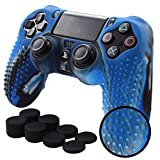 xbox 360 kinect cooler - Pandaren STUDDED Anti-slip Silicone Cover Skin Set for PS4 /SLIM /PRO controller(CamouBlue controller skin x 1 + FPS PRO Thumb Grips x 8)