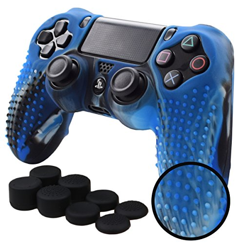 Pandaren STUDDED Anti-slip Silicone Cover Skin Set for PS4 /SLIM /PRO controller(CamouBlue controller skin x 1 + FPS PRO Thumb Grips x 8) (Fan Ps3 Cooler Slim Super)