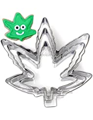 Marijuana Pot Leaf Brownie Cookie Cutter Mold Party Novelty Joint Bud Smoke Gift - 3 Piece Set - Stainless Steel
