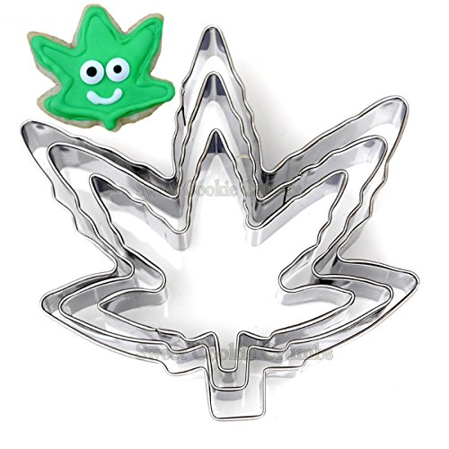 Marijuana Pot Leaf Brownie Cookie Cutter Mold Party Novelty Joint Bud Smoke Gift - 3 Piece Set - Stainless Steel ()