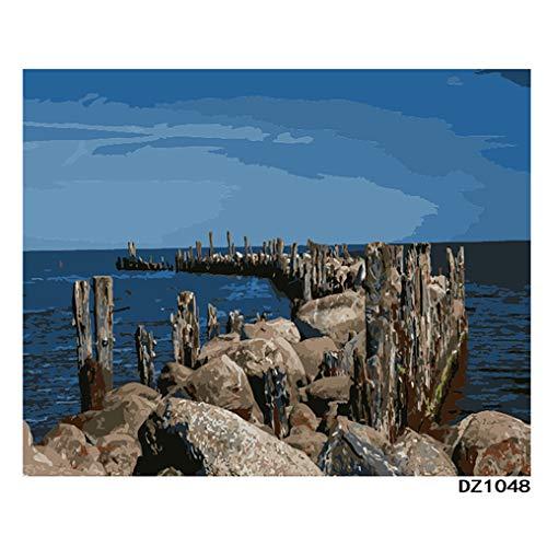 LovetheFamily 数字油絵 数字キット塗り絵 手塗り DIY絵 デジタル油絵 ホーム オフィス装飾 40x50cm 海上の石路の商品画像