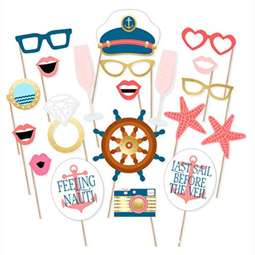Navy - Photo Booth Props Kit- Birthday Party Supplies Nautical Themed Baby Shower-20 Count