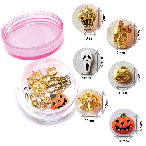NAILDROBE 6 Halloween Nail Charms (pumpkins, skull, ghost, skeleton hands, spider web)
