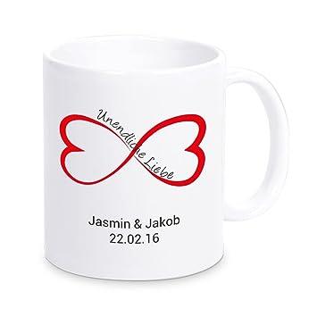 Tasse U0026quot;Unendliche Liebeu0026quot; Mit Namen Und Datum, Kaffeetasse,  Kaffeebecher, Geschenkidee