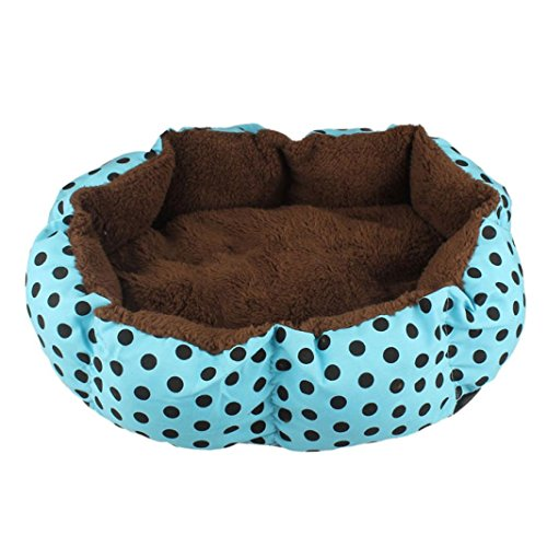 DZT1968® Round Dot Plush Cushion Pet Nest Bed Kennel Small Dog/Cat Bed Pet Supplies (Blue)