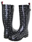 Capelli New York Ladies Fleur De Lis Ditsy Printed Tall Rubber Rain Boot Black Combo 8