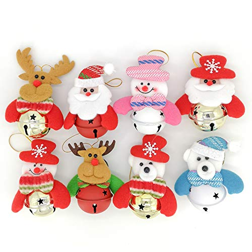 Kiozi Christmas Hanging Decorations, Jingle Bells Ornaments for Xmas Tree, Home Party Holiday Decorative Plush Snowman Santa Claus Bear Reindeer, 8 Pack