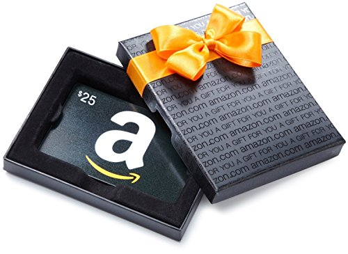 Amazon.com $25 Gift Card in a Black Gift Box
