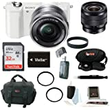 Sony Alpha a5000 ILCE-5000L/W ILCE5000LW 5000L 20.1MP Mirrorless Camera (White) + Sony SEL1018 Wide-Angle Zoom Lens + Sony 32GB SDHC/SDXC Memory Card + Replacement Battery + Deluxe Accessory Kit