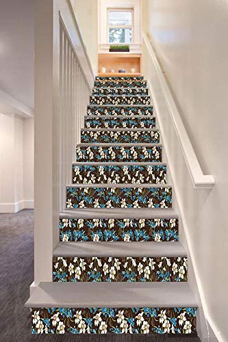 (anselc05ls Brown and Blue 3D Stair Riser Stickers Removable Wall Murals Stickers,Daffodils Cornflowers Pattern Nature Inspired Floral Bouquet Design,for Home Decor 39.3