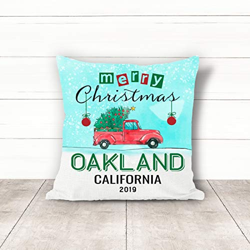 Christmas Pillow Covers 18 x 18 Inches Merry Christmas 2019 Oakland California CA Pillow Decorations for Xmas Autumn Pillow Covers Home Decor Design for Sofa Bedroom Car