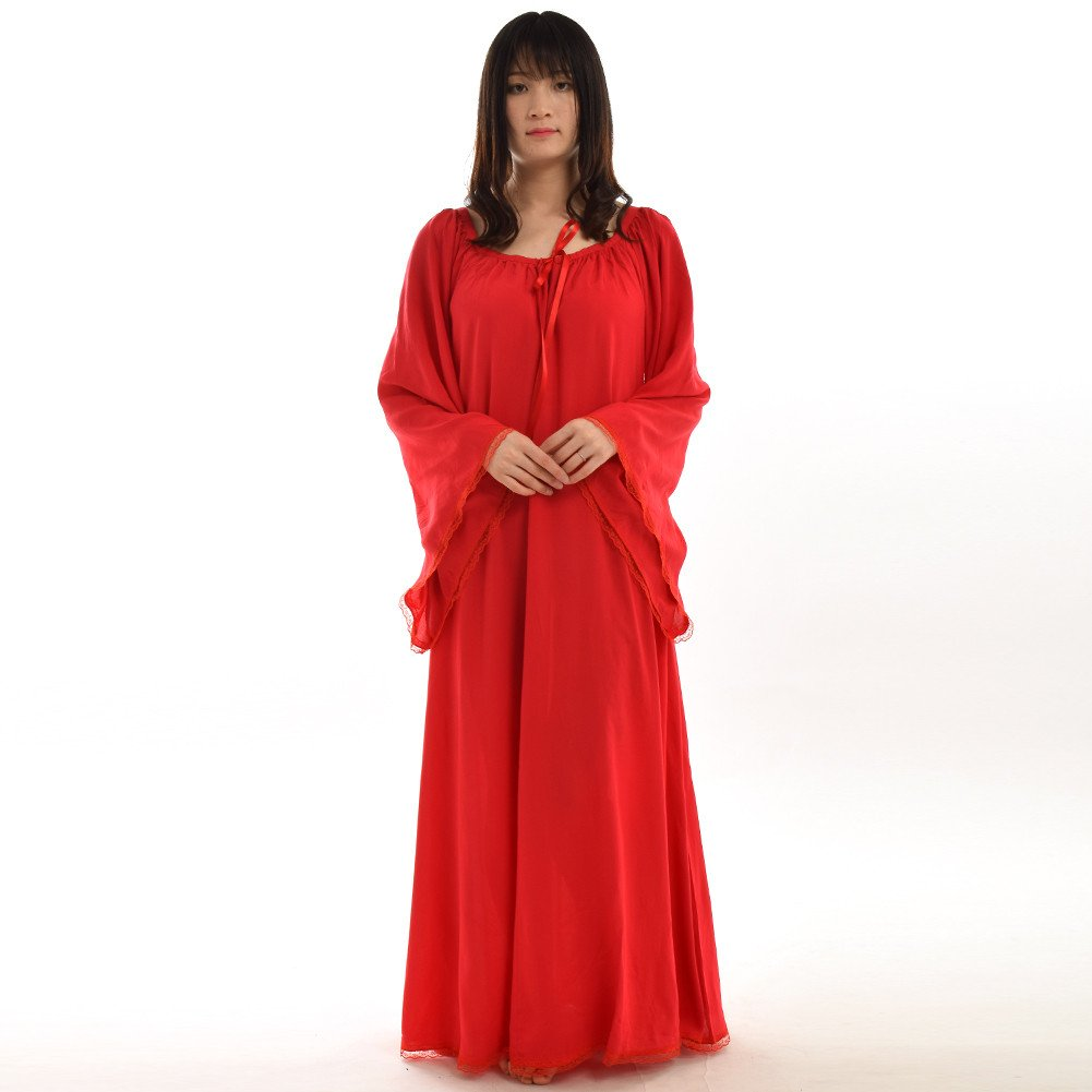 Medieval Women's Red Lace Trimmed Bell Sleeve Chemise - DeluxeAdultCostumes.com