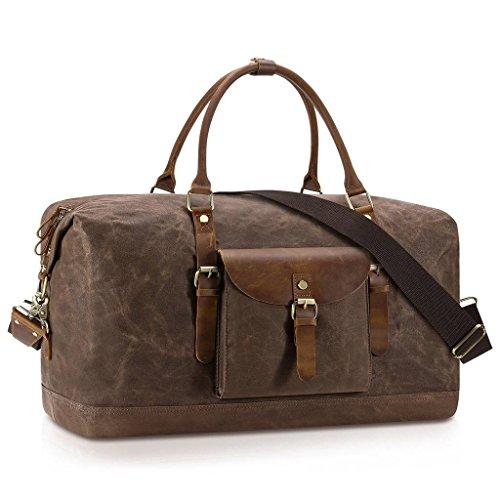 Plambag Oversized Duffel Bag, Waterproof Canvas Leather Trim Overnight Luggage Bag(Coffee) by Plambag