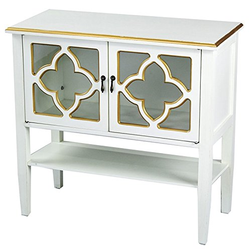 Heather Ann Creations Modern 2 Door Accent Console Cabinet With 4 Pane Clover Glass Insert and B ...