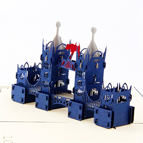 IShareCards 3D Pop Up Buildings Thank You Greeting Card for Every Occasion (London Tower Bridge Blue)