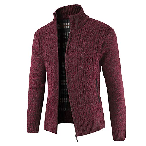 CUCUHAM Fashion Men's Autumn Winter Casaul Zipper Jacket Knit Cardigan Long Sleeve Coat(Red,X-Large) -