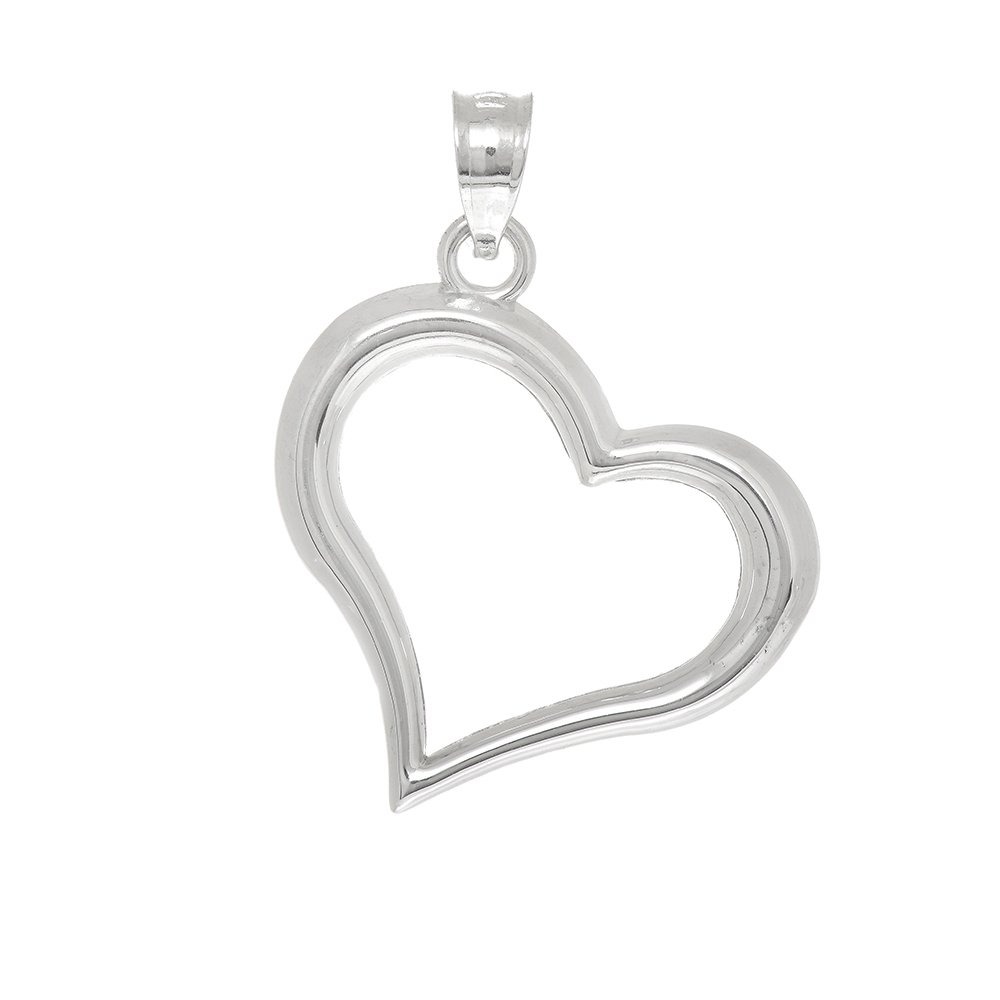 JewelStop 14K Real White Gold Shiny Open Heart Charm Pendant
