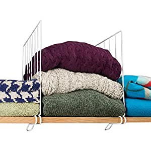 Evelots Set Of 4 Closet Shelf Dividers For Wooden Shelving, Wire Design, White