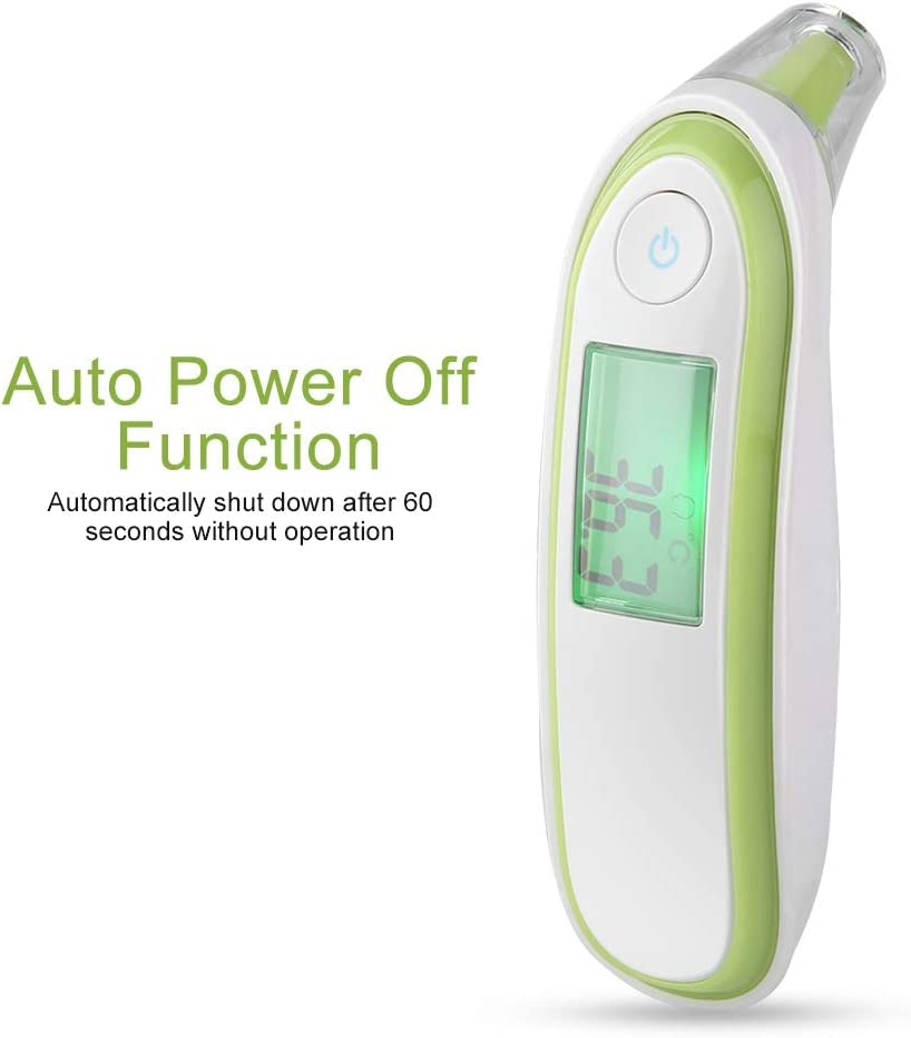Duevin Adult And Baby Ear Forehead LCD Digital Infrared Electronic Thermometer Temperature Monitor 01# Green + White