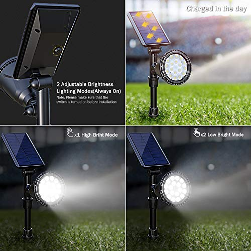 DBF Solar Lights Outdoor, Latest 18 LED Waterproof Solar Spotlights Solar Landscape Lights Auto On/Off Wall Security Lighting for Garden Yard Pathway Driveway Pool Landscaping, Pack of 2 (Cool White) by DBF (Image #2)
