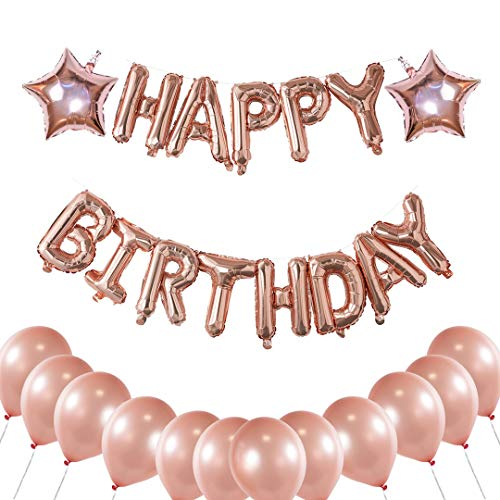 Happy Birthday Balloons Banner – Rose Gold Party Decoration for Your Birthday Party | Latex and Star foil Balloons + Happy Birthday Letters for All Ages + Balloon String