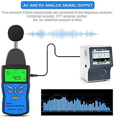 HoldPeak Sonómetro HP-882A, Decibelímetro (30~130 dB) Probador de ...